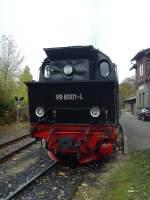 Selketalbahn/101029/99-6001-in-harzgerode-vor-der 99 6001 in Harzgerode vor der Rückfahrt nach Alexisbbad, Oktober 2010