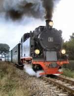 Dampfbetrieb/104322/lok-9-ist-mit-ihren-personenzug Lok 9 ist mit ihren Personenzug unterwegs im Oktober 2005